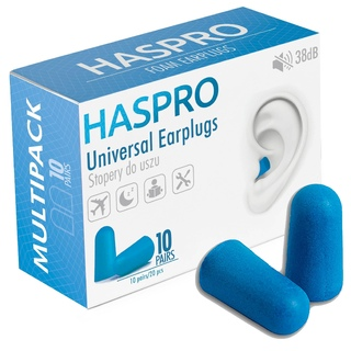 Пенные беруши для сна 10 пар HASPRO MULTI10 SNR 38 дБ Синие
