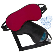 Маска для сна шелк «Чумацький Шлях» с нескользящей резинкой и охлаждающим гелевым вкладышем Красная